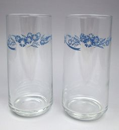 Pair Corning Ware Cornflower glass tumblers drinking glasses blue flowers #CorningWare