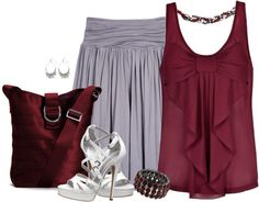 """""""Maroon and Grey"""" by lmm2nd on Polyvore"""
