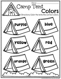 Looking for fun Camping Theme preschool Activities for kids? Check out these 16 Hands-On Forest and camping Learning Activities and Crafts for Preschool or Kindergarten. Color Worksheets For Preschool, Summer Worksheets, Preschool Lesson Plans, Preschool Classroom, Classroom Themes, Preschool Activities, Summer Themes For Preschool, Classroom Camping Theme, Preschool Camping Activities