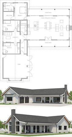 49 Ideas Home Architecture Farmhouse Metal Buildings For 2019 Barn House Plans, New House Plans, Dream House Plans, Small House Plans, Modern Floor Plans, Farmhouse Floor Plans, Modern House Plans, Simple Home Plans, Bungalow Floor Plans