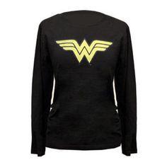 Wonder Woman Logo Long-Sleeved Women's Fitted Black T-Shirt