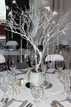 Manzanita centerpiece,  Grey Silver White bling wedding theme. Contact me (Scootable on pinterest) on how to make... easy peasy!