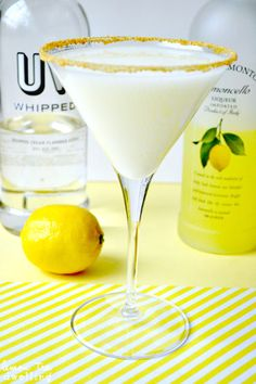 Lemon Meringue Martini - Limoncello and whipped cream-flavored vodka join forces in this delectable martini – like lemon meringue pie in a glass!