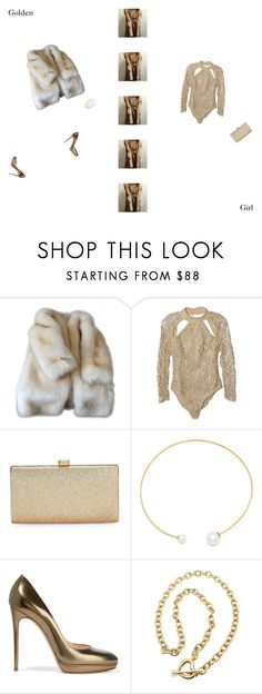 """Golden Girl"" by imiliebabe ❤ liked on Polyvore featuring Asilio, La Regale, Fallon, Casadei and Tiffany & Co."