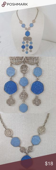 """Blue and Silver Statement Necklace Blue and Silver Statement Necklace, beautiful and sturdier than it looks, 15"""" inches long and 2"""" at the widest point. Jewelry Necklaces"""