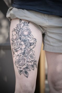 Started this pretty tattoo of British robins and Joseph's coat roses for Krystal! So excited to finish it. Super in progress. Psyched!