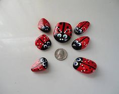 Good Luck Windowsill Ladybugs - rocks, hand painted, garden decoration, lady bug, planter, paper weight, cute