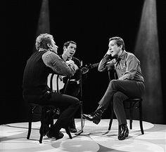 Simon & Garfunkel's Art Garfunkel, Paul Simon, host Andy Williams --