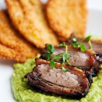 Roast Pork Belly on Pea Puree by Use Real Butter