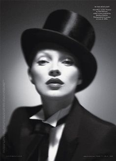 Inspired by Marlene Dietrich, Kate Moss strikes a pose in Dior Homme. Photo by Mert and Marcus for Vanity Fair, 2006 Kate Moss, Tony Curtis, Andre Kertesz, Helmut Newton, Annie Leibovitz, Mario Testino, Fred Astaire, Man Ray, Top Models
