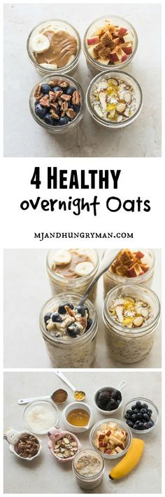 Healthy Breakfast Ideas: How to make a healthy and delicious overnight oats // MJ and Hungryman. - All Fitness Healthy Desayunos, Healthy Snacks, Healthy Eating, Healthy Recipes, Clean Eating, Lunch Snacks, Healthy Breakfasts, Yummy Snacks, Breakfast Recipes