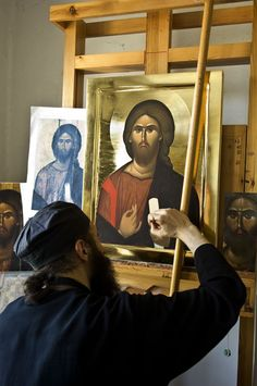 """An Orthodox monk """"writing"""" an icon Religious Images, Religious Icons, Religious Art, Byzantine Icons, Byzantine Art, Orthodox Christianity, Orthodox Icons, Russian Art, Sacred Art"""