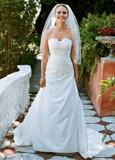 Taffeta Side-Drape Gown with Beaded Lace - David's Bridal- mobile