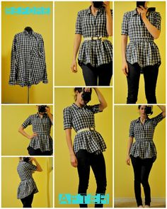 Refashion. Oversized men's collared shirt into adorable bustle shirt.