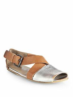 Marsell Leather & Metallic Leather Sandals