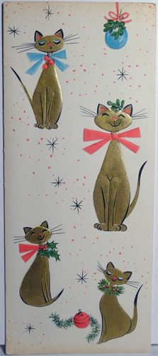 Mid-century modern Christmas card with gold Siamese cats.