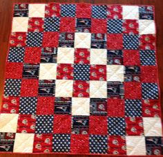 New England Patriots quilt and other fabrics. Blue, white, red, stars by SeamsOfDreams on Etsy Quilting Designs, Quilt Design, Quilting Ideas, Football Quilt, Christmas Quilting Projects, New England Patriots Merchandise, Sports Quilts, Patriotic Quilts, Man Quilt