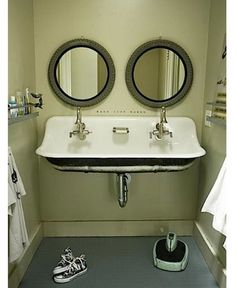 upstairs bath sink: utility sink refashioned as double sink.
