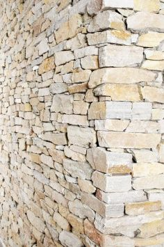 Feature sandstone dry stacked wall