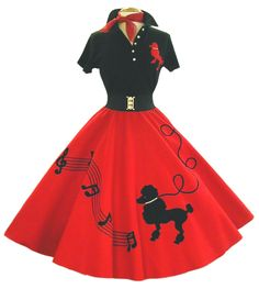 This is a great example of the poodle skirt, which was popular in the These skirts were full-circle felt skirts with a poodle applique on the side. Rhinestones would commonly adorn the poodle as well. Lila Outfits, Skirt Outfits, Cute Outfits, 1950s Style, Poodle Skirt Outfit, Poodle Skirts, 1950s Poodle Skirt, Poodle Skirt Costume, Poodle Dress