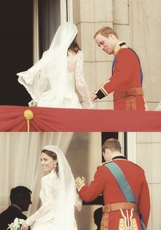 Will and Kate, leaving the balcony of Buckingham Palace; love how he takes her hand, guides her, and is still doing this! Duchess Kate, Duke And Duchess, Duchess Of Cambridge, Royal Wedding 2011, Royal Weddings, Princess Katherine, Princess Kate, William Kate Wedding, Kate Middleton Wedding