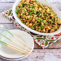Fried Cauliflower Rice with Shrimp, Sugar Snap Peas, and Red Pepper is Low-Carb, Gluten-Free, and can be Paleo.