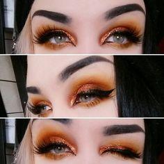 orange tint makeup eyes
