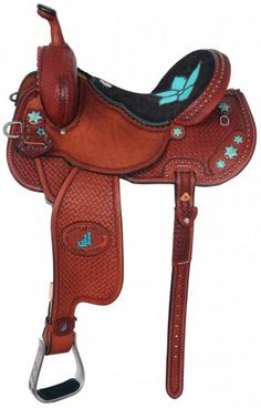 Pozzi Pro Barrel Racer with turquoise details.