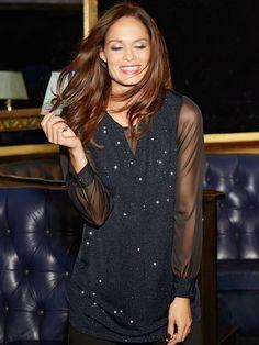 M&Co. Women Shimmer chiffon sleeve tunic