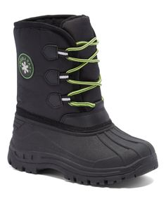 Black & Green Lace-Up Snow Boot