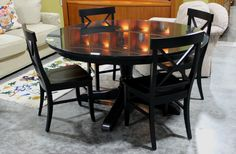 Pottery Barn Table & 4 Chairs (7444-2) - Consignment Northwest
