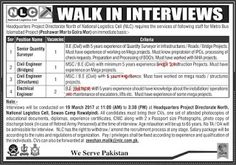 NLC Jobs 2017 National Logistics Cell North for Metro Bus Islamabad Project Latest  Headquarters Project Directorate North National Logistics Cell requires the services for following staff for Metro bus Islamabad Project (Peshawar Mor to Golra Mor on immediate basis. Advertised Positions areSenior Quality Surveyor Civil Engineer Bridges Civil Engineer Structures and Electrical Engineer.The Latest advertisement LatestPublished in Nawa i Waqat Newspaper on 15th of March 2017.  Vacancies…