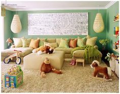 fun, soft looking play room/family room
