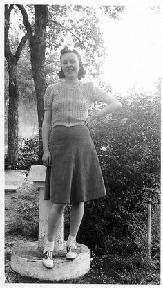 lady in a knit jumper (blouse), skirt and saddle shoes | vintage 1940s 40s