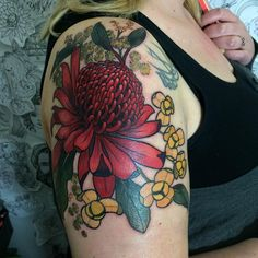 Red Waratah in the centre, Golden Wattle up the top and the Cambodian national flower, the Romduol. Thanks Jemina, was a pleasure tattooing you! Had an awesome day! Tattoo You, Love Tattoos, New Tattoos, Color Tattoos, Awesome Tattoos, Tatoos, Waratah Flower, Australian Tattoo, Native Tattoos