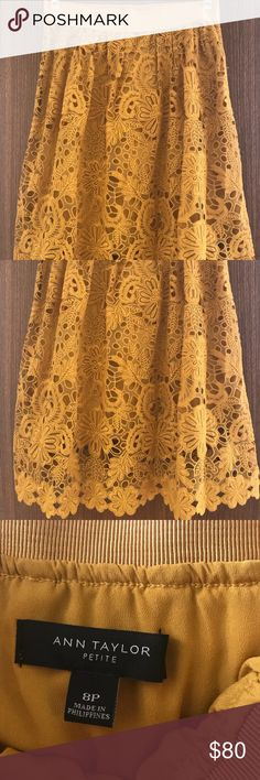 """Lace Overlay Full Skirt Waist: 28"""" Length: 24.5"""" (lining length is 19"""") Beautiful goldenrod full lace skirt. Elastic waistband with side zip. Purchased new. Never worn. Ann Taylor Skirts A-Line or Full"""