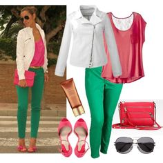 Straight to Plus Size - Color Blocking White + green + coral Curvy Outfits, Plus Size Outfits, Casual Outfits, Fashion Outfits, Womens Fashion, Kelly Green Pants, Green Tee, Green Pants Outfit, Color Blocking Outfits