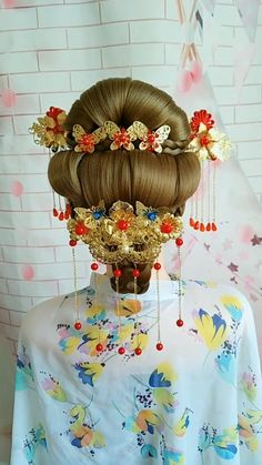 Hairstyle Tutorial 58 - Twin day ideas for school - Vintage Hairstyles, Pretty Hairstyles, Girl Hairstyles, Chinese Hairstyles, Geisha Hair, Geisha Makeup, Hairstyle Tutorial, Hairstyle Ideas, Hair Wrap Scarf