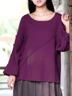 [US$20.33] M-5XL Pure Color Cotton Blouse #m5xl #pure #color #cotton #blouse