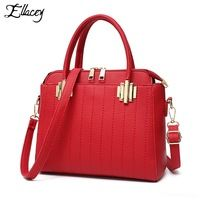 Ellacey Pu Leather Bags Hand Saffiano Brand Shoulder Female Bags Handbags Women Famous Thread City Shoulder Totes Female-Bag
