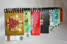 mini notebooks using old starbucks gift cards