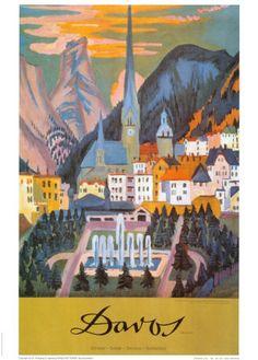 """Davos"" by Ernst Ludwig Kirchner travel poster"