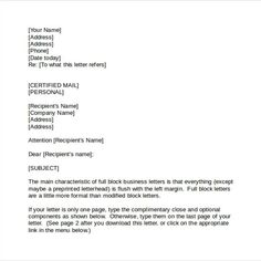 correct business letter format