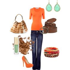 Orange casual, created by choco35.polyvore.com