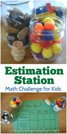 Station for After School Fun Creative Family Fun: Estimation Station for After School Fun or Math center in school!Creative Family Fun: Estimation Station for After School Fun or Math center in school! School Age Activities, Math Activities For Kids, Fun Math Games, Math For Kids, Number Activities, Kids Fun, Maths Games Ks1, School Age Games, Capacity Activities