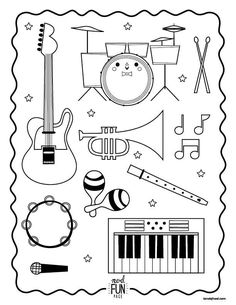 Nod Printable Coloring Page - Instruments for Musical Kiddos - Bildung Preschool Music, Music Activities, Teaching Music, Instrument Craft, Musical Instruments, Colouring Pages, Coloring Pages For Kids, Free Coloring, Coloring Sheets