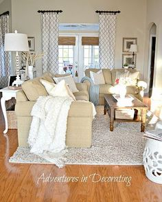 Tan and white living room Love the curtains and splashes of light blue. This is beautiful. This is how I want my living room to look! Cozy Living Rooms, My Living Room, Apartment Living, Home And Living, Living Room Decor, Living Spaces, Living Room Ideas Tan Couch, Living Room Inspiration, Home Decor Inspiration