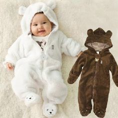 Autumn Winter Baby Rompers Bear style baby coral fleece brand Hoodies Jumpsuit baby girls boys romper newborn toddle clothing - Kid Shop Global - Kids & Baby Shop Online - baby & kids clothing, toys for baby & kid Baby Outfits, Newborn Outfits, Toddler Outfits, Kids Outfits, Toddler Jumpsuit, Baby Jumpsuit, Baby Girl Romper, Baby Boy Newborn, Baby Girls