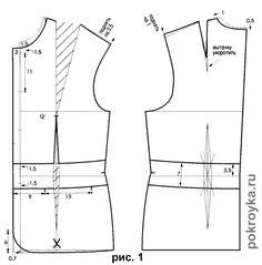Для построения выкройки пиджака с застежкой доверху используют: основной чертеж пиджака; выкройку рукава. Построение выкройки спинки и полочки пиджака 1. Построить основной чертеж пиджака длиной до бедер. 2. Продлить вниз линию полузаноса на 0,7см, соединить полученную точку с боковым срезом и начертить плавной кривой линию низа полочки. 3. Линию плечевого среза полочки поднять на 0,5см [...]