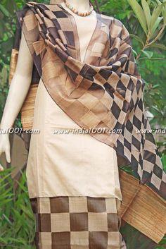 Elegant Tussar Silk unstitched suit fabric   India1001.com